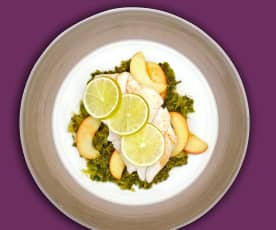 Seelachs auf Curry-Grünkohl