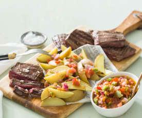 Entraña a la plancha con patatas y salsa criolla