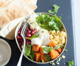Menu veggie - Bowls aux patates douces et sauce au tahini