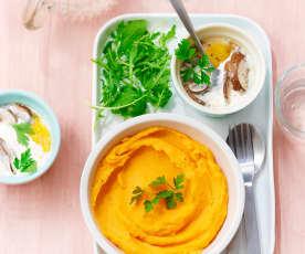 Purée de patate douce, œufs cocotte aux champignons
