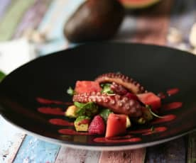 Polpo arrosto con avocado, anguria e aceto al lampone (di Mirko Ronzoni)