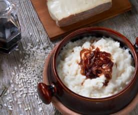 Risotto al Taleggio con cipolla di Tropea caramellata al balsamico