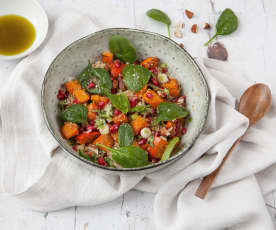 Quinoa Salad with Butternut Squash, Spinach and Pomegranate