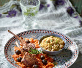 Lammkoteletts in Tomaten-Zwiebel-Sauce mit Weizen-Pilav - Keşkekli Pirzola Yahni