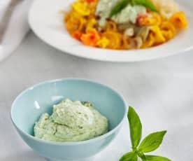 Salsa de albahaca para pasta (pesto ligero)