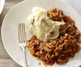 Purea di patate con ragù di carne e verdure
