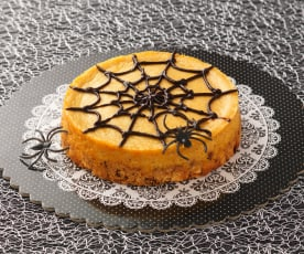 Citrus and spice spider web cheesecake