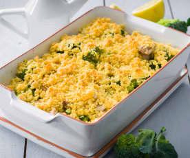 Crumble de brócoli, pollo y almendras