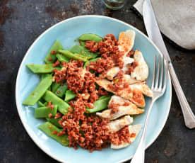 Emincé de dinde, haricots plats et chorizo