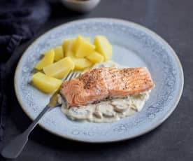 Salmon with Potatoes and Mushroom Cream Sauce