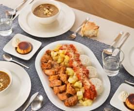 Menú: Lentejas estofadas. Solomillo de cerdo con patatas y salsa de tomate. Quesillo