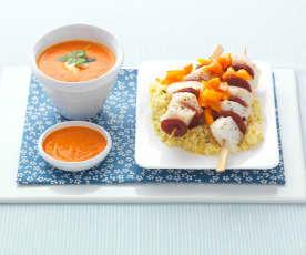 Brochettes de cabillaud et chorizo, semoule aux légumes et velouté poivron et féta