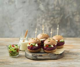 Smoky beetroot and black bean sliders with soused cucumber