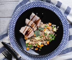 Farro e filetto di maiale con glassa all'aceto balsamico
