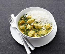Hähnchencurry mit Spinat und Basmatireis