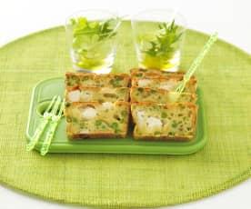 Plumcake salato con piselli, zucchine e formaggio di capra