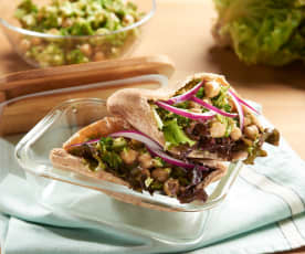 Lemony Broccoli and Chickpea Pitas