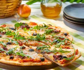 Pizza con arúgula y tomate seco