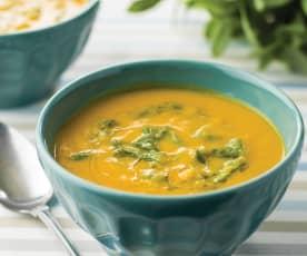 Sopa de cenoura e canónigos