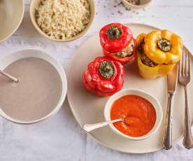 Menú: Crema de champiñones. Pimientos rellenos y arroz integral en salsa de tomate