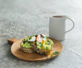 Crunchy quinoa patties with avocado smash