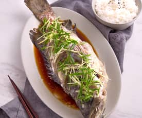 Qing zheng yu (steamed fish with ABC soup)