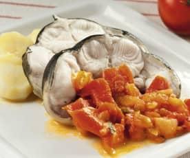 Congrio y patatas al vapor con tomate rústico