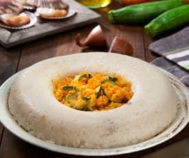 Corona di riso capesante e verdure