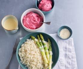 Asparagi, riso al Parmigiano e zabaione; Sorbetto ai frutti rossi