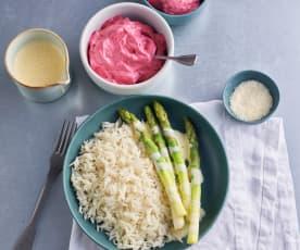Asparagus, Parmesan Rice and Lemon Sabayon Sauce; Berry Foam