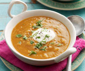 Kichererbsensuppe mit Rhabarber und Curry