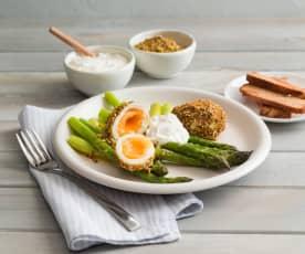Dukkah eggs with asparagus and feta