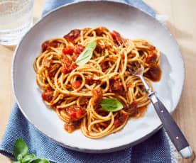 Spaghetti diavolo z makaronem pełnoziarnistym