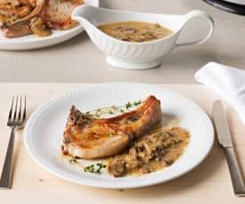 Chuletas de cerdo con salsa de champiñones al marsala (HESTAN CUE)