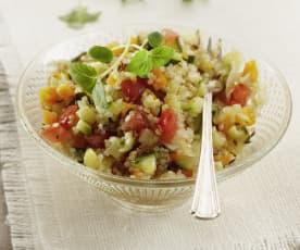 Quinoasallad med krispiga grönsaker