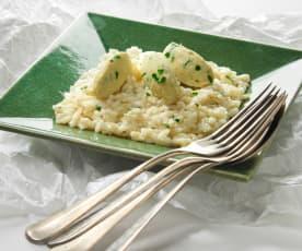 Caldo freddo di risotto al baccalà