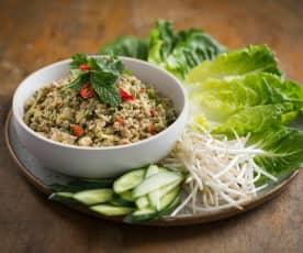Larb (spicy minced chicken salad)
