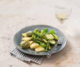 Semolina gnocchi with asparagus