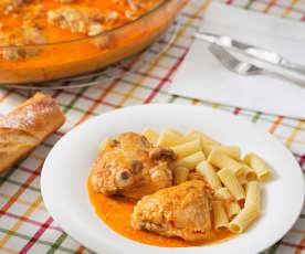 Pollo con pimentón y crème fraîche