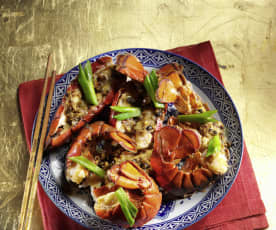 Lobster Tails with Black Bean Chili Sauce
