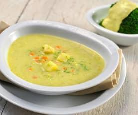 Zeleninová polévka a brokolice se sýrovou omáčkou