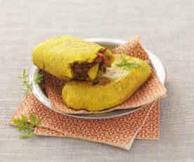 Pan marroquí de cúrcuma relleno de ternera
