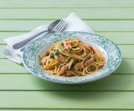 Smoked trout pasta with lemon and capers