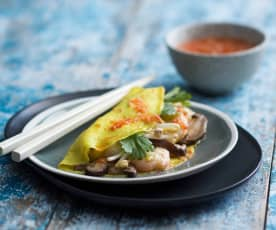 Prawn and mushroom crepes