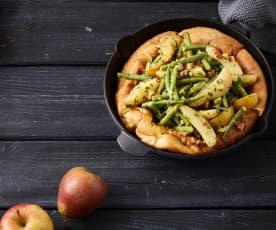 Yorkshirepudding mit Birnen-Bohnen-und-Speck-Salat