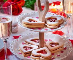 Valentijnkoekjes met aardbei