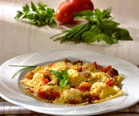 Ricotta-Ravioli mit Auberginensauce