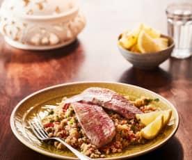Fisch auf Paprika-Couscous