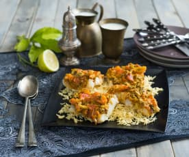 Steamed white fish with tomato and Indian spices