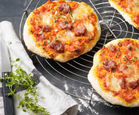 Pizza mit Kamut und Mettwurst